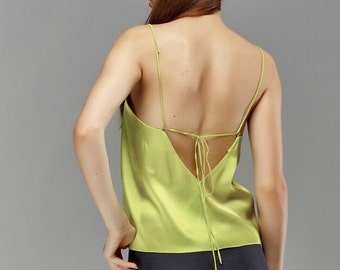 Open back top, silk top, designer top, silk blouse, backless top, backless blouse, silk top, open back sleeveless blouse, designer tops.