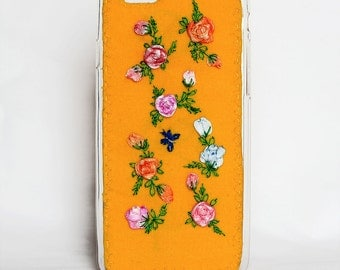 Yellow gel phone case with roses, Yellow Silicone Case for iPhone 6, beautiful and unusual phone case, handmade