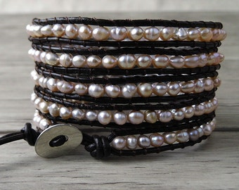 5 Rows Wrap Bracelet Pearl wrap Bracelet real pearl bracelet Leather wrap Bracelet beaded bracelet leather bracelet bead bracelet SL-0093