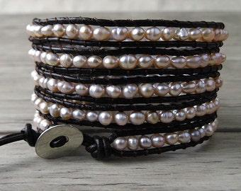 5 Rows Wrap Bracelet Pearl wrap Bracelet real pearl bracelet Leather wrap Bracelet beaded bracelet leather bracelet bead bracelet SL-0093