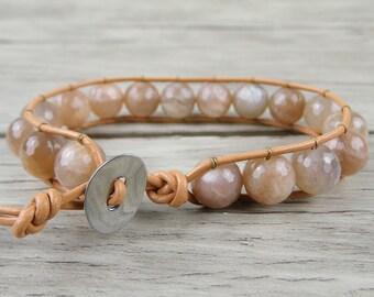 Sunstone beads Wrap bracelet single wrap leather bracelet Chic Boho bead bracelet Yoga wrap bracelet gift for her healing Jewelry SL-0135