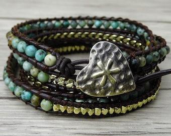 Turquoise wrap bracelet boho wrap bracelet Gold beads chain wrap bracelet yoga beaded bracelet 5 rows leather wrap bracelet Jewelry SL-0160
