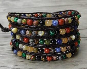bohemian wrap bracelet rustic yoga leather bead bracelet boho gemstone bracelet 5 wraps bead bracelet bead leather bracelet Jewelry SL-0316
