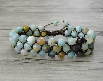 boho bead bracelet adjustable bead bracelet amazonite bead bracelet amazon stone bracelet weave braid bead bracelet beadwork Jewelry SL-0340