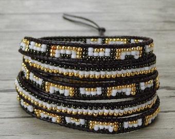 Seed bead wrap bracelet Modern design bracelet leather wrap bracelet Gypsy bracelet 5 wraps bracelet yoga bead bracelet bead jewelry SL-0391