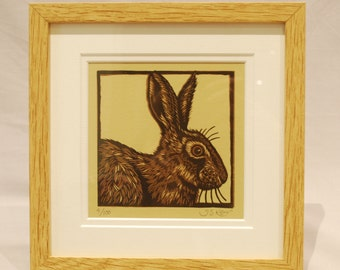 Hare Linocut , hand made rabbit print