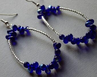 Drop Dead Gorgeous-Cobalt Blue Iridescent Hoop Earrings