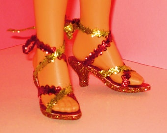 Tiffany Taylor shoes RED n GOLD Shoes doll shoes, Magic Hair Crissy shoes, doll shoes, doll accessories