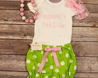 Mommys shadow onesie bloomers set .. Pink and green .. Girls/toddlers/infants