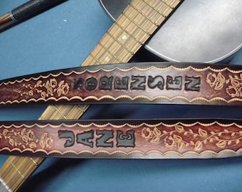 "MAHOGANY w/Roses~~Genuine Leather Guitar Strap ~~ 2""Wide Comfortable, Lightweight  & Adjustable~~Engraved Free! Ships in 1 Week!"