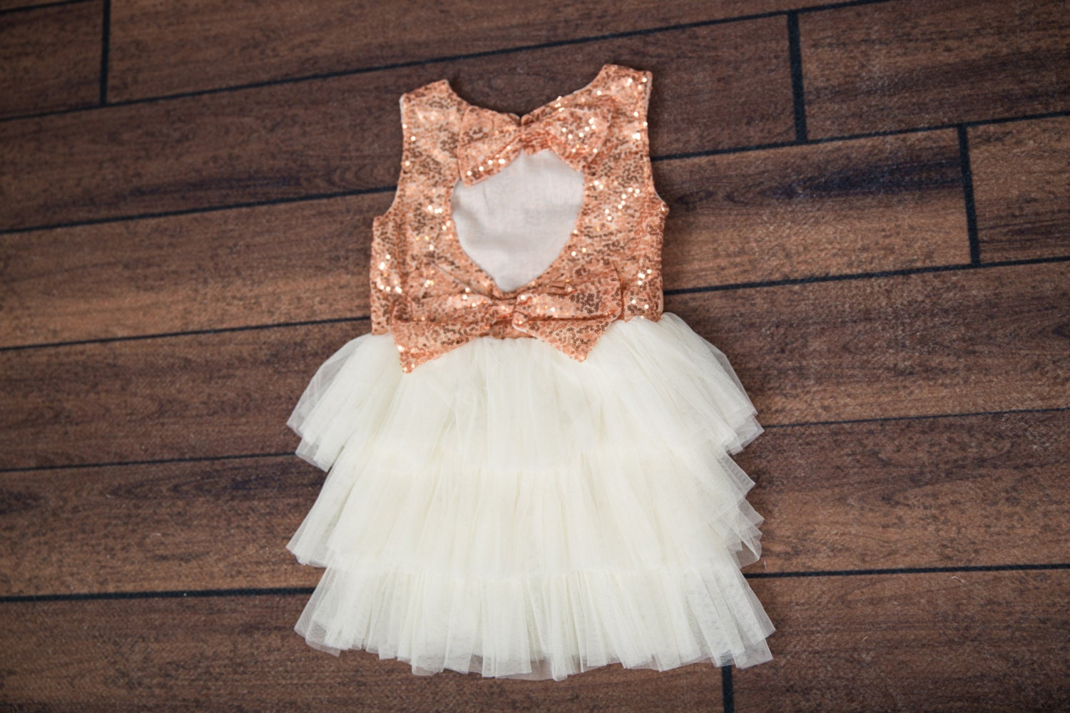 Rose Gold sequin dress Ivory Tulle Flower Girl Dress Cream