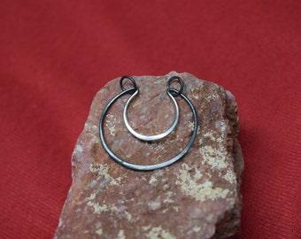 Precision Oxidized Silver Crescent Moon Pendant. 925 Silver. Item 108.