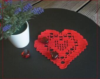 Small crochet doily Heart red, lace Heart, Crochet Heart, Valentine's Day