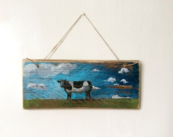 Cow Wall Art Cow Painting on Wood  Wall Hanging Reclaimed Wood Farmhouse Kitchen Art  Kitchen or Dining Room Wall Art Shabby Chic Decor