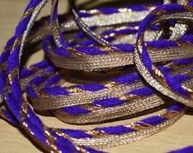 Purple Metallic Piping, Gota Patti Piping Cord, Metallic Trim, piping trim by 3 yard, Decorative Trim and Embellishment, Sewing Trimmings