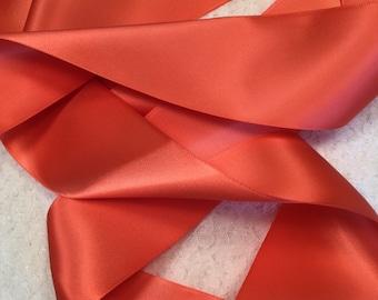 Coral Satin Ribbon/Watermelon Satin Ribbon/Coral Bridal Belt/Coral Ribbon/Coral Wedding Sash/Watermelon Coral/Coral Bridesmaid Sash