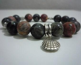 Bracelet Jasper landscape and Focile coral,Gemstone bracelet,Jasper bracelet,Gift,Gift for her,Woman bracelet