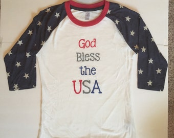 God Bless the USA Star Sleeve Soft Raglan