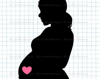 Pregnant clipart, pregnancy image, baby girl, scrapbook images,belly silhouette, instant download, black pink, baby annoucement, pink