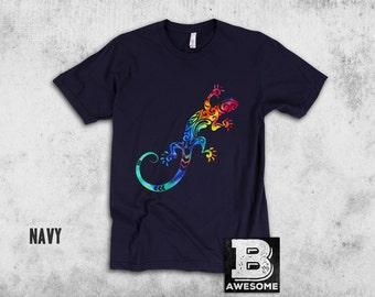 Tie Dye Gecko Shirt, Tribal Gecko Print, Tie dye tee, lizard tee