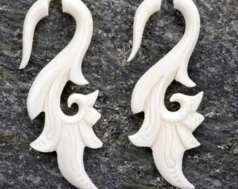 White Bone Exotic Floral Spiral Organic Fake Gauges Earrings