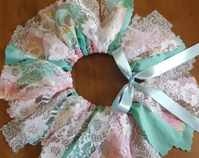 Medium Pink and Mint Floral Iridescent Lace fabric tutu Spring photo skirt for all ages smash photo skirt Easter egg hunt outfit for girls