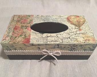 Shabby chic wooden decoupaged tissue box with romantic, travel decor