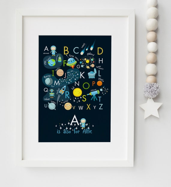 Personalised new baby child outer space alphabet birth for Outer space gifts