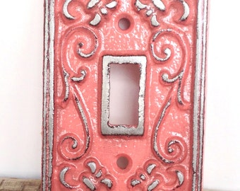 Coral Light Switch Cover - Lightswitch Plate - Coral Wall Decor - Wall Accents - Light Switch Plate - Shabby Chic - French Country Decor