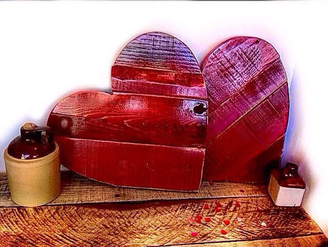 Red Wooden Heart Decor Rustic Valentine's Day Gift