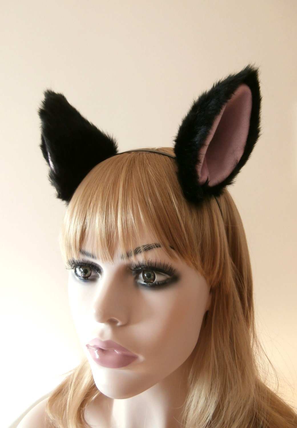 big cat wolf fox ears kitty hair clips soft black with pink fur cosplay costume halloween