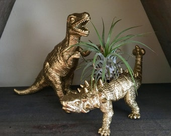 Set of Two Gold Painted Dinosaur Planters - Succulents - Home Decor - Gifts