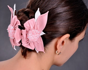 pink barrette butterfly on spring leather