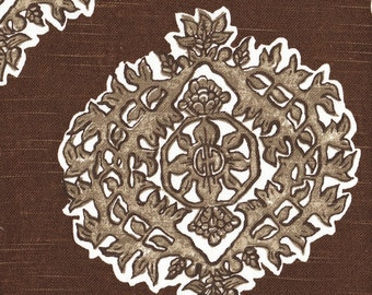 Tailored Valance Madras Cafe Brown Medallion