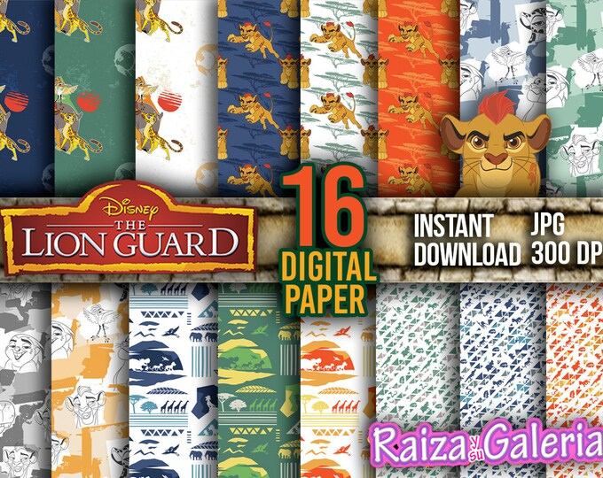 AWESOME Disney The Lion Guard Digital Paper. Instant Download - Scrapbooking - The Lion guard KION Printable Paper Craft!