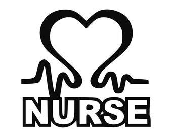 Nurse Heartbeat Heart Vinyl Decal, Doctors, Family, Sticker Car Window Decal Laptop Macbook 0176