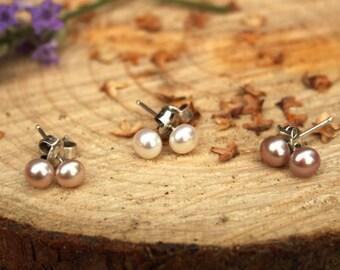 Pixie Pearl Stud Earrings - Wedding, Bride, Bridesmaid, Freshwater Pearl Earrings, Silver Earrings, Bridesmaid Gift, Daughter Jewellery