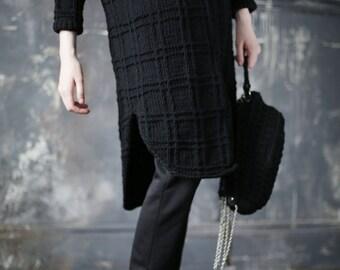 Oversized knitted cardigan   Wool jacket   Knit jacket   Warm cardigan   Black cardigan   Chunky jacket   Handknit cardigan   Merino Wool