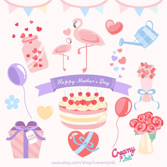Mother S Day Cake Clip Art : Happy Mother s Day Digital Vector Clip art / Mothers Day ...