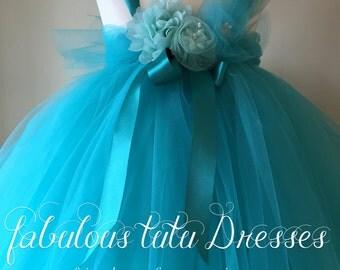 Jewel-like teal toddler tutu dress