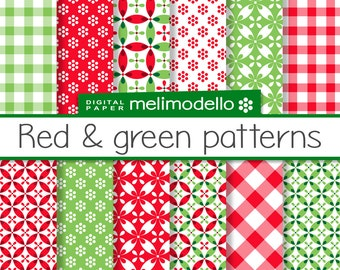 Digital paper, Red and green patterns, downloadable