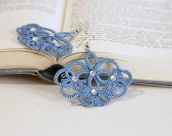Beaded blue earrings, chandelier, made in italy, tatted earrings, lace frivolite
