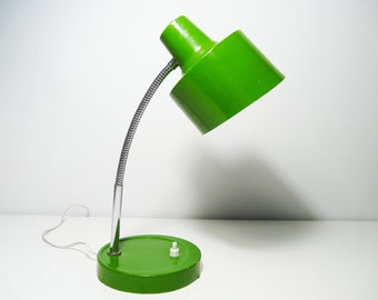 Vintage Green Gooseneck Desk Lamp, Table Lamp, 1970s