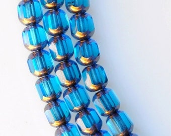 6mm Fire Polished 8-Windows w/Bronze Edge - Czech Glass Beads - Various Colors - Qty 25 or 75