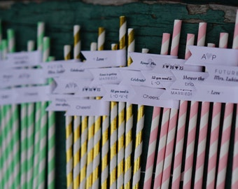 100 Engagement Party Straws with Custom Flags / Paper Straws / Personalized Straws / Engagement Party Straws / Party Straws / Custom Straws