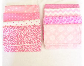 Pink and White Burp Cloths Flannel and Minky