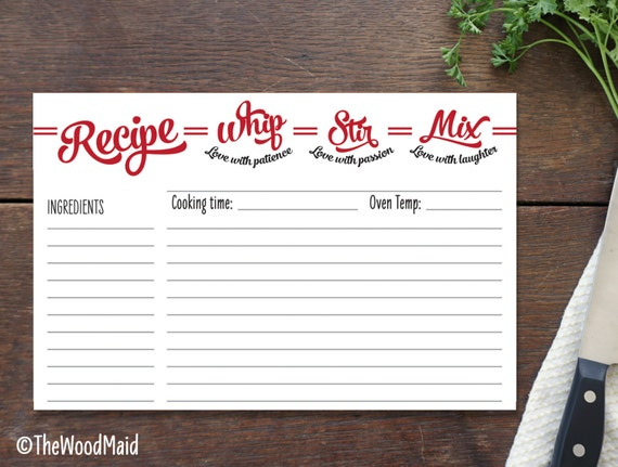 Recipe Card for Marriage Bridal Shower Recipe Gift Wedding Present for ...