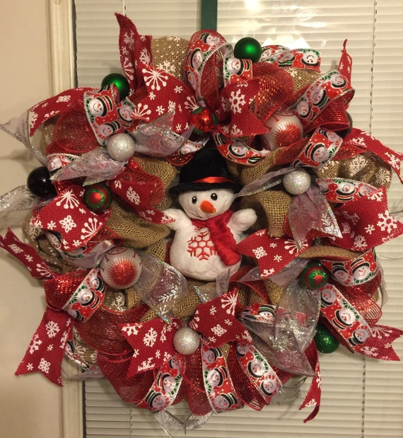 Red burlap snowman wreaths christmas wikii for Burlap snowman wreath