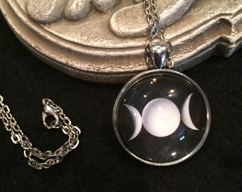 Triple Moon Goddess Black and White Bronze or Silver Pendant Necklace Pentagram Wiccan Pagan Gothic Maiden Mother Crone