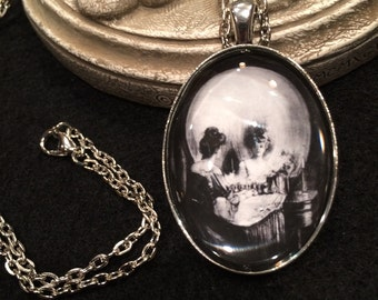 Vintage Victorian All is Vanity Skull Optical Illusion Bronze or Silver Pendant Necklace Gothic Charles Allan Gilbert
